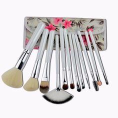 12pcs Pony Hair fiber Makeup Brush Set Professional Eyeshadow Foundation Blusher Cosmetic Brushes Make Up Tools Kit with bag