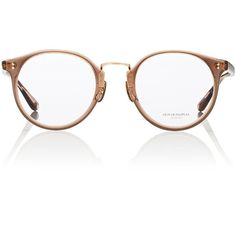 Oliver Peoples The Row Women's Maidstone Eyeglasses (€400) ❤ liked on Polyvore featuring accessories, eyewear, eyeglasses, glasses, no color, transparent glasses, transparent eyeglasses, american eyeglasses, oliver peoples glasses and round lens glasses
