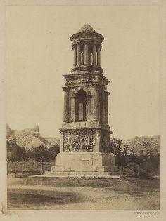 """Dominique Roman - Mausolée des Jules, Saint-Rémy de Provence, ca 1855 salted paper print from a waxed paper negative 8"""" x 10 3/4"""""""