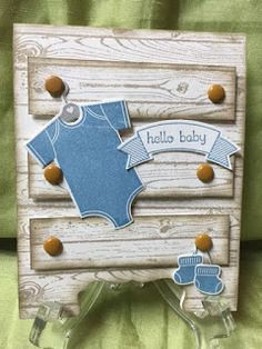 Something for Baby [134030], Thoughtful Banners [141614], Teeny Tiny Wishes, Hardwood [133032], Baby's First Framelits [133735], Duet Banner [141483] & Decorative Label punches [120907], Marina Mist Baker's Twine, Medium Brads