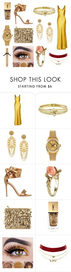 """Gold Outfit"" by unicorn1019 ❤ liked on Polyvore featuring Galvan, Jennifer Meyer Jewelry, Dolce&Gabbana, Rolex, Gianvito Rossi, Vintage, Forest of Chintz, Yves Saint Laurent, Charlotte Russe and Victoria's Secret"