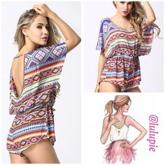 "✳️SALE✳️Sexy Aztec Print Romper Beautiful mix of colors in an Aztec print  Bat sleeve / open back  Polyester  Loose fit Drawstring at waist   Medium  Waist: 40.16""/ hips: 48.03""/ length: 29.13""  Large  Waist: 41.73""/ hips: 49.61""/ length: 29.53""  X Large  Waist: 43.31""/ hips: 51.18""/ length: 29.92"" B Chic Pants Jumpsuits & Rompers"