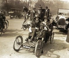 Lady Warrender out for a drive in the park with Audrey James at the wheel - UK - 14 April 1921