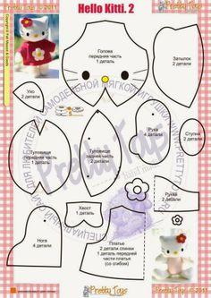 QUIANE İLE SANAT - Paps, kalıpları, EVA, Keçe, dikiş, Fofuchas 3D: Kalıp Hello Kitty Keçe