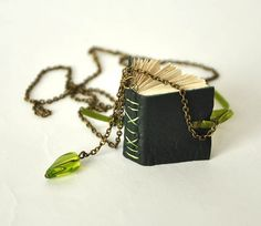 green book necklace, mini book jewelry, leather mini journal, tiny book , green journal, book lover, literature necklace
