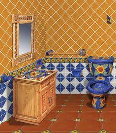 37 mejores im genes de ba os con talavera bath room for Muebles talavera