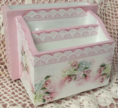 Hand Painted Vintage Desk Organizer Pink Roses  Cottage Chic Shabby Lace HP
