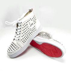 Christian Louboutin Mens Louis Studded Sneakers White
