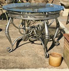 """Round Patio Table   40"""" Diameter x 29.5"""" High   $200  On The Patio - Booth #282  Lula B's  1010 N. Riverfront Blvd. Dallas, TX 75207"""