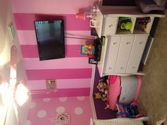 Other striped wall in Minnie room   this is what I want to do but switched.