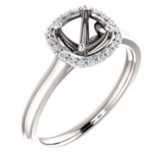 14kt White 6mm Cushion Halo-Styled Engagement Ring Mounting