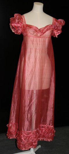 What a color! This sheer, rose-pink silk gauze gown was made between 1815 and 1820.