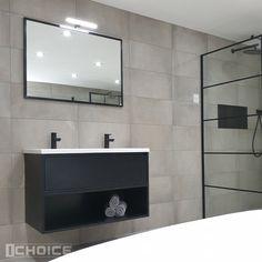 Bathroom Inspiration, Home Decor Inspiration, Black White Bathrooms, Beautiful Mirrors, Bathroom Toilets, New Homes, Interior Design, House, Mix Match