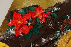Menina Framboesa: tronco de Natal | Bûche de Noël  #christmas #poinsettia