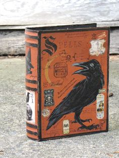 Large Vintage Inspired Paper Mache Halloween Witch's Book of SPELLS Book Box Hand Painted Black CROW RAVEN