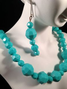 Vintage Turquoise Beads Earring&Necklace Set  N78 by GraffitiCat, $6.00