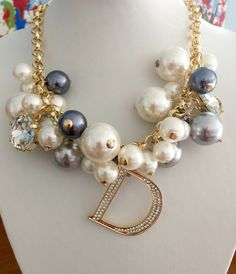 Celebrity Inspired Multi Color Pearl Rhinestone Gold Choker Initial Necklace