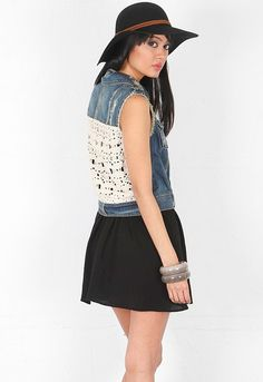 Free People Rugged Ripped Macrame Cargo Vest in Moody Blue Combo  $118