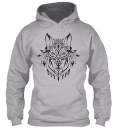 Hoodie Indian Wolf Head Sport Grey Sweatshirt Front