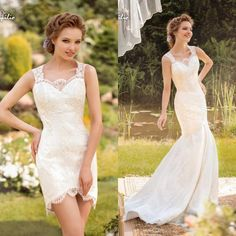 2016 Bohemian Style Detachable Skirt Wedding Dress Full Lace Lace Mermaid Beach Bridal Wedding Gown Robe De Mariee Custom Made Simple Bridal Gowns Sleeveless Wedding Dresses From Ourfreedom, $134.78| Dhgate.Com