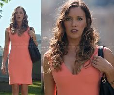 Laurel's peach v-neck dress on Arrow.  Outfit Details: http://wornontv.net/20313/ #Arrow #TheCW