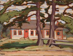 """""""Houses Group No. IX,"""" Lawren Stewart Harris, oil on board, 10 x 13 private collection. Canadian House, Canadian Art, Tom Thomson, Harris House, Group Of Seven, Fine Art Auctions, Houses, Oil, Landscape"""