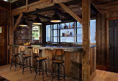 Interior : Farmhouse Perfect Wooden Bar Style Design Glass Walls Big Pendant Lamps Wood Floor Laminate Wood Bar Stool Black Door Open Shelf ...