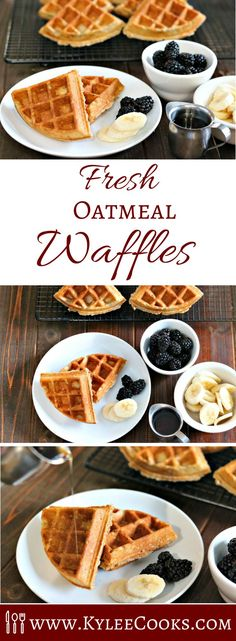 Hot fresh and made from scratch with oatmeal and cinnamon these fresh oatmeal waffles are a great breakfast for the whole family Add some fruit and some pure maple syrup and it s a treat you ll all look forward to Delicious Breakfast Recipes, Brunch Recipes, Yummy Food, Make Ahead Breakfast, Breakfast Dishes, Breakfast Ideas, Fodmap Breakfast, Breakfast Healthy, Sweet Breakfast