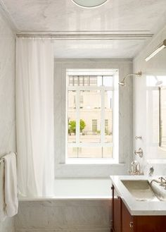 10 Tricks To Get A Luxurious Bathroom For Less Small Window Curtains, Bathroom Window Curtains, Window In Shower, Bathroom Windows, Ceiling Curtain Track, Ceiling Curtains, Tub Shower Combo, Shower Tub, White Shower