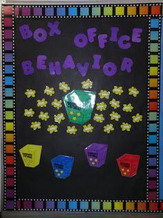 Alternate behavior bulletin board for a Hollywood/movie theme. Behavior Bulletin Boards, Classroom Behavior, First Grade Classroom, Classroom Themes, Classroom Organization, Movie Classroom, Student Behavior, Preschool Classroom Setup, Behavior Board