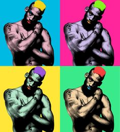 Recreation of NBA star Dennis Rodman's picture in the style of Andy Warhol's painting. Nba Basketball Teams, Love And Basketball, Denis Rodman, Warhol Paintings, Vibrant Hair Colors, Salon Art, Nba Stars, Chicago Bulls, Pop Art