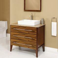 Art Decolav Mila 37 inch Black Limba Bathroom Vanity