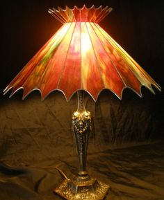 Autumn Crown; one of a kind original stained glass lampshade...lovely...not a Tiffany, but very nice! ❤⊱♡⊰❤