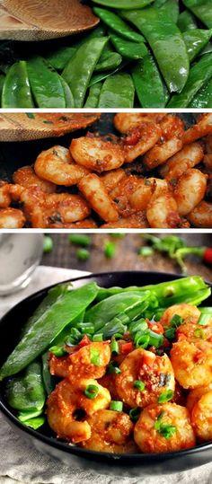 Shrimp and Snow Peas Stir Fry with Chili, Miso Tomato - Healthy Stir Fry Recipes - Click for Recipe