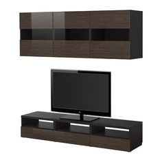 BESTÅ TV storage combination, black-brown bamboo pattern, high-gloss/brown black-brown bamboo pattern/high-gloss/brown $429