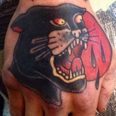 Panther on hand . Done on my special Customer from Cesena . #underblesstattoourbino #freehandtattoo #oldschooltattoo #slv #tattoos #tam #tattooart #tattoolife #tattooenergy #tattooed #handtattoo #oldisgold #tattooaddict #slvurbino (#pesaro #pesarourbino #cattolica  #cesena #cesenatico #rimini #riccione #fano #fossombrone #cagli ) by underbless
