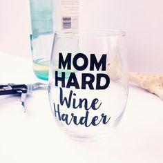 shop mom hard wine harder by alittleladyandme   mom hard wine harder   Pinterest   Gifts, mother's day gift   momlife   gift idea