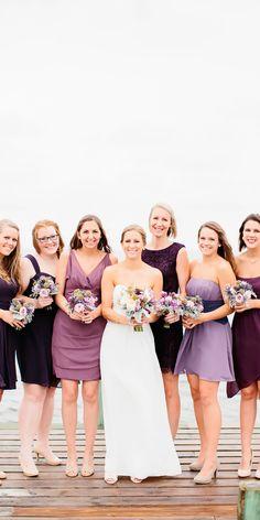 v neck strapless sweetheart short lavender bridesmaid dresses emily march Bridesmaid Dress Shades, Lavender Bridesmaid Dresses, Mismatched Bridesmaid Dresses, Bridesmaid Outfit, Bridesmaids And Groomsmen, Wedding Bridesmaids, Bridesmaid Gowns, Plum Wedding, Dream Wedding