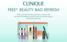 This is a Clinique summer gift at Dillard's - choose 5 favourites plus receive a cosmetics bag. Free with any $35 Clinique purchase. Clinique Gift, Dillards, Cosmetic Bag, Free Gifts, Skin Care, Cosmetics, Makeup, Beauty, Summer