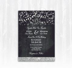 Winter Wedding Invitation Silver Glitter by TreasuredMomentsCard
