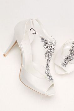 Crystal T-Strap Peep Toe High Heel by Wonder by Jenny Packham available at David's Bridal #weddingshoes