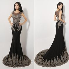 Wholesale Luxury Evening Dress - Buy 2015 Luxury 100% Real Images Sheer Neck Black Formal Evening Prom Dresses Appliques Celebrity Pageant Party Gowns India Arabic 2014 SSJ, $221.06 | DHgate