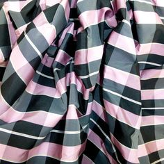 pink black check tartan taffeta fabric high by BodikianTextiles