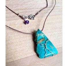 24 Genuine Kingsman Turquoise Wire Wrap Necklace by UrbanGypsyGems