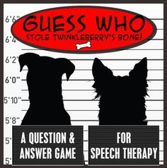Brand new design!Resources abound on answering questions, but far fewer exist that teach children to ask questions. Guess Who Stole Twinkleberrys Bone is a structured, Guess Who-style game that helps students practice asking two types of yes/no questions. Speech Pathology, Speech Language Pathology, Speech And Language, Speech Therapy, Question And Answer Games, Yes Or No Questions, Expressive Language Disorder, School Information, Comprehension Activities
