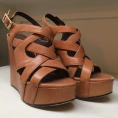 Strappy Wedge Heels Cute perfect for spring/summer! light brown scrappy sandal wedge heels. slightly worn. some scuffs (pictured) still have lots of use left! Vince Camuto Shoes Wedges