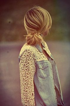 Denim button down with crochet lace sleeves