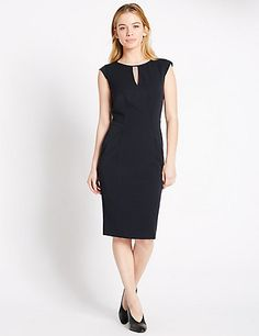 PETITE Key Hole Neck Lined Shift Dress | M&S