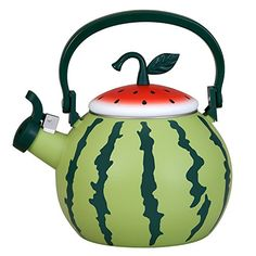 Watermelon Whistling Tea Kettle-Add this burst of color to your kitchen and stove top. The Watermelon is stainless steel both inside and out and has an enamel outer coating and a durable plastic handle, spout and lid handle. Traditional Kettles, Watermelon Decor, Watermelon Painting, Watermelon Outfit, Cast Iron Cookware, Cookware Set, Teapots And Cups, Tea Time, Tea Party