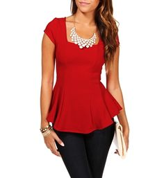 Red Fitted Peplum Top. Would be great for holiday parties! #christmas #holiday #fashion
